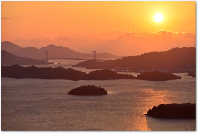 三原の風景、海、島、朝日