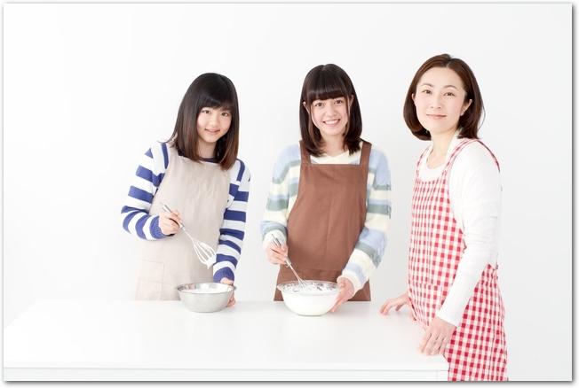 チョコレートケーキを手作りしている女の子たち