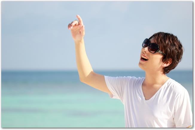 海辺でサングラスをした男性