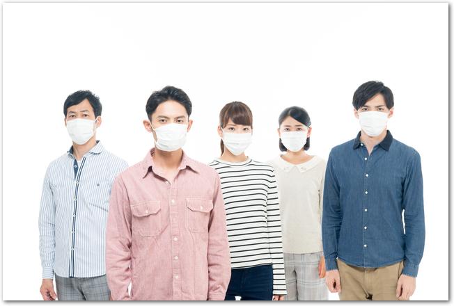 マスクをした人の集団