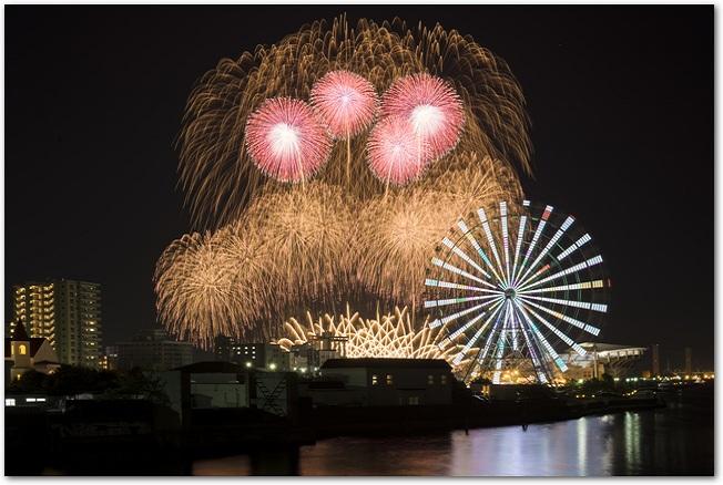 広島みなと夢花火大会の激しい花火のようす