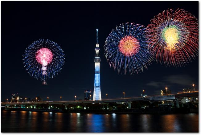 スカイツリーも見える隅田川花火大会のようす