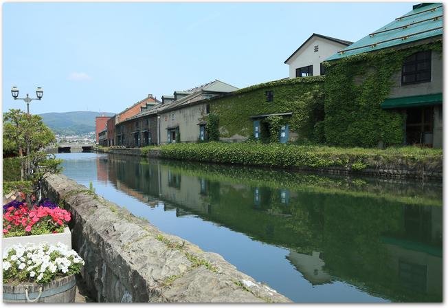 晴れた日の小樽運河の風景