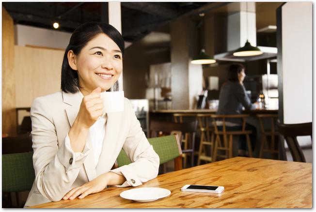 カフェでコーヒーを飲む若い女性の様子