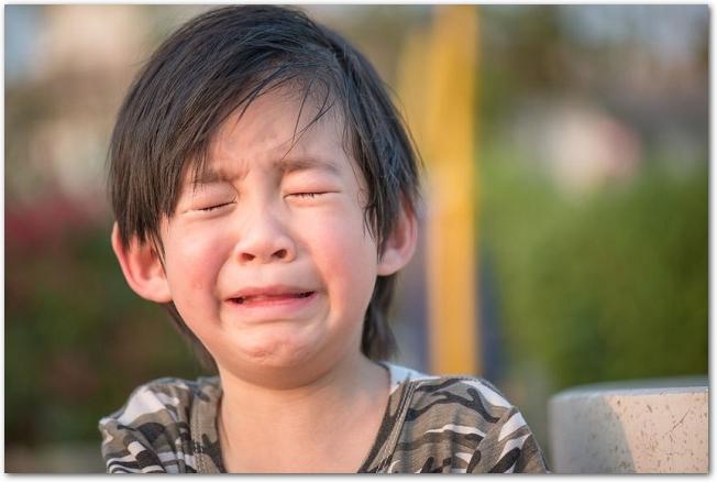泣いている男の子の様子