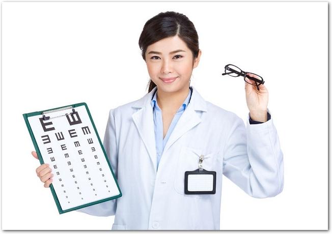 メガネと視力検査の表を持つ女性眼科医の様子