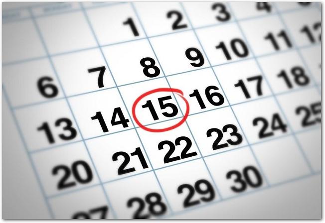 15日に赤い丸がつけられたマンスリーカレンダー