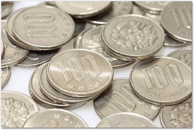 百円玉がたくさん乱雑に置かれている様子