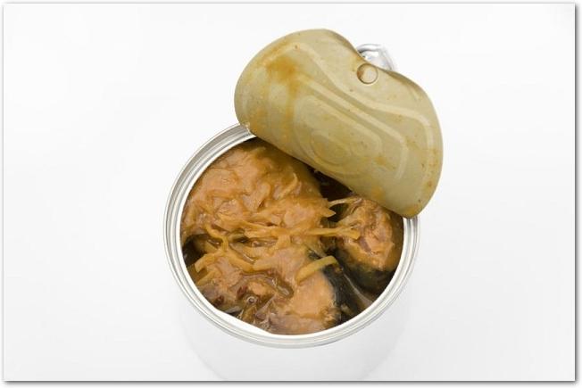 ふたを半分ほど開けた鯖味噌缶