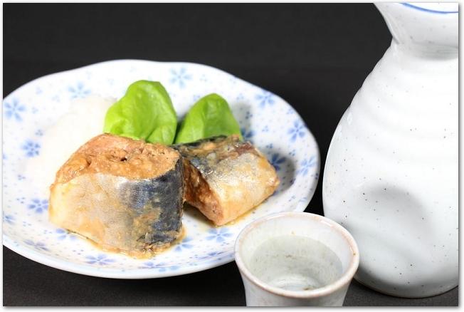 お皿に盛りつけられた鯖味噌缶と日本酒の徳利とお猪口