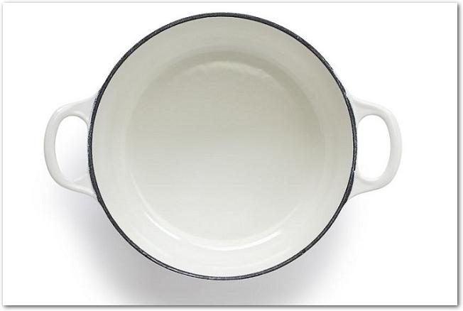 白いホーロー鍋を真上から見た様子
