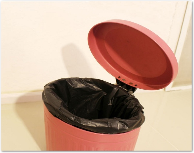 トイレに置いてあるフタ付きのゴミ箱