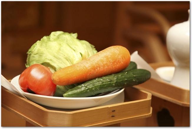 三方に乗せられた神様へのお供え物の野菜