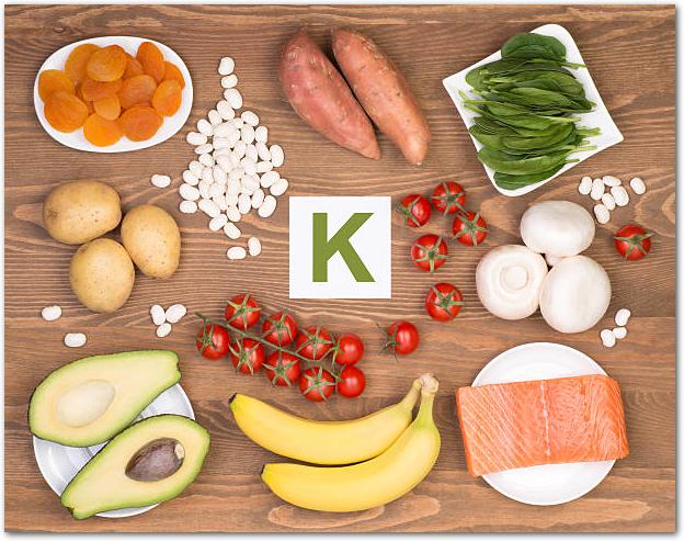 カリウムの記号の周りにバナナなどのカリウムを多く含む食材が置かれている様子