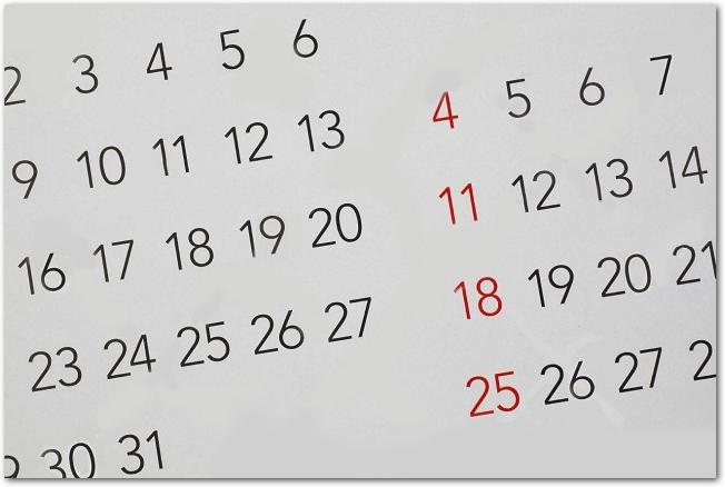 2か月分のマンスリーカレンダーの日付
