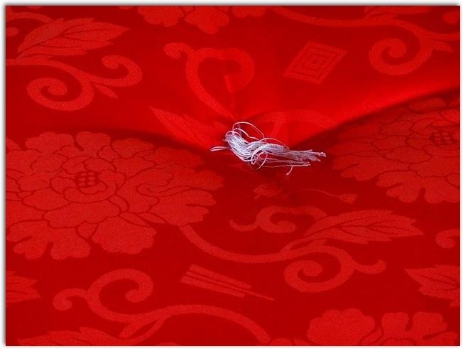 赤い座布団のアップ